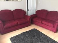 2 x 2 seater red/ burgundy sofas