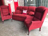 Red sofa with 2 arm chairs