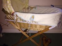 moses basket - complete with stand and mattress and bedding