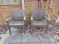 KENSINGTON SOLID TEAK PATIO / GARDEN ARMCHAIRS....REAL QUALITY at this price....£80 each.