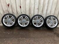 """Genuine BMW 1 2 series f20 f22 m sport alloy wheels set 18"""" with tyres"""