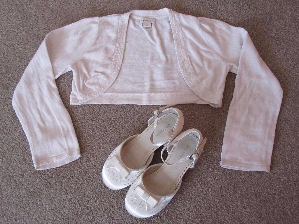 Girl's Monsoon Bolero / Shrug Cardigan and Shoes (Bridesmaid / Wedding)