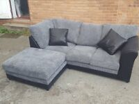 Superb BRAND NEW black and grey jumbo cord corner sofa. Little mark to the side,can deliver