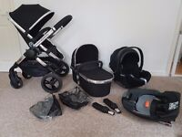 Icandy peach 3 pushchair black magic with carrycot and cybex carseat