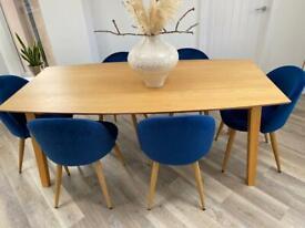 8 deep blue velvet dining chairs