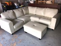 Cream leather corner sofa with footstool