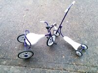 Vintage 1970 Raleigh Kids Children Tricycle Bicycle and 3 wheel scooter