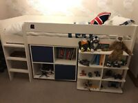 Children's Stompa bed with pull out desk and book case