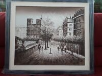 Black and white painting with black frame