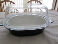 Pyrex Ovenproof ceramic Dish Oval with glass lid Length 13 inches Width 9.5 inches Height 7 inches
