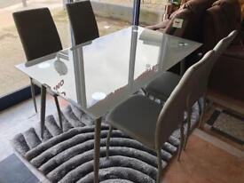 New**Grey dining table and 6 chairs - BARGAIN