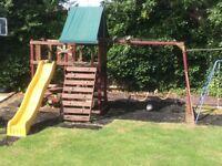 kids garden slide, swings, fort rope ladder play centre