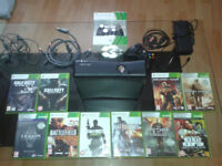 XBOX 360 s 250Gb Black + 10 games + 2 controllers all wires etc