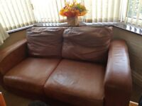 Tan John Lewis Leather sofa