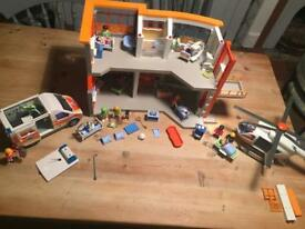 Playmobil hospital ambulance and helicopter