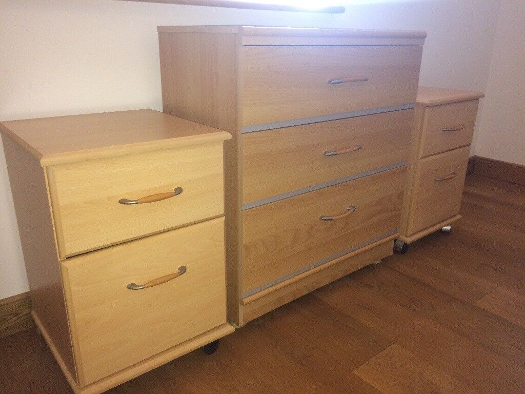 Alstons Furniture (Beech Effect) - 1x chest of drawers, 2x bedside cabinet