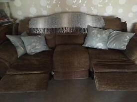 Electric recliner, sofa, 2 chairs, storage pouffe