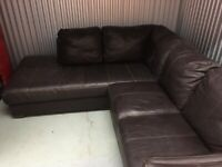 Large brown leather corner suite and chair