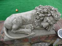 lion sleeping concrete stone garden ornament