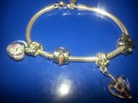 Genuine childs size pandora bracelet and charms.