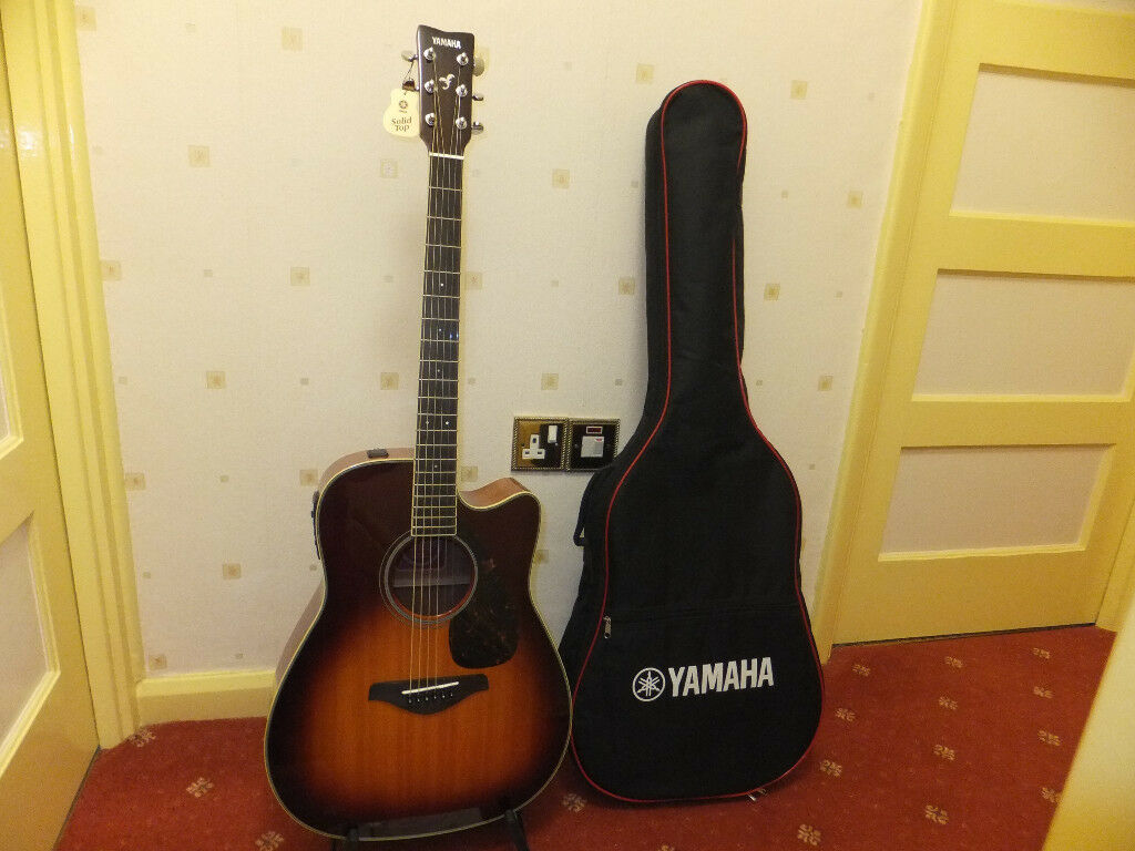 Yamaha Fgx720sc Solid Top Electro Acoustic Guitar Built In Tuner