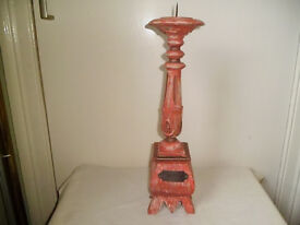 LARGE WOODEN CANDLESTICK FROM INDONESIA