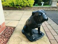BLACK LARGE BULL DOG OUTDOOR GARDEN CONCRETE STONE STATUE ORNAMENT