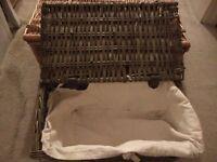 3 x Wicker Cane Antique Storage Basket/Hamper.