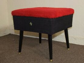 VINTAGE RETRO SHERBORNE LIDDED DRESSING STOOL SEWING WORK BOX FREE DELIVERY IN THE GLASGOW AREA