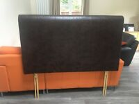 Immaculate Next Brown Faux Leather Kingsize Headboard