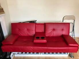Red leather sofa bed+chair