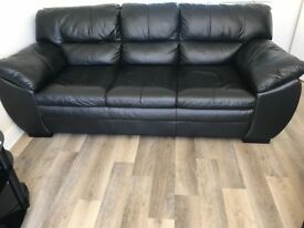 3 Seater leather sofa in Black - from DFS