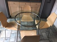 Ikea Round Glass Table With Chrome Legs And 4 Chairs