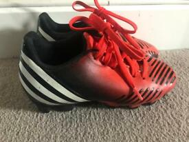 Adidas predators black orange boy football boots size 10 uk Infant