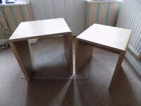 light oak veneer nest of two tables the size of the largest is H46cm X W45.5 X D39cm