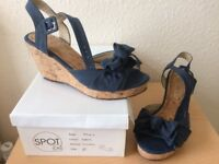 Size 5 Cork wedge denim blue sandals with feature bow