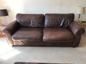 Brown leather large 2 seater sofa, armchair and foot stool