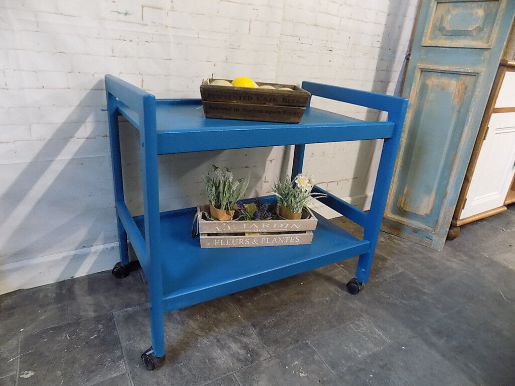 Painted Blue Serving Trolley