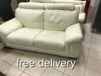As new white Italian leather 3 and 2 sofas