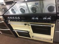 Black & cream leisure 100cm gas cooker grill & double ovens good condition with guarantee bargain