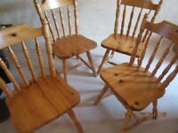 ** 4 PINE DINING CHAIRS