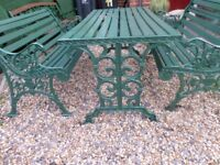 OLD ANTIQUE CAST IRON GARDEN BENCH SET