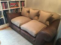 Loaf style leather / fabric comfy sofa