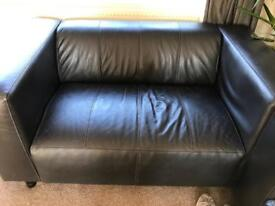 Two 2 seater brown leather couches