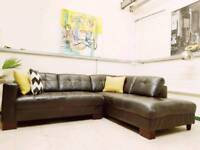 Made com Danish style leather corner sofa RRP £1600