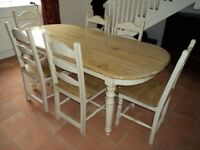 Shabby Chic Dining Table and matching 6 chairs