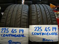 matching 225 45 19 contisports 8mm tread £90 pair supp & fitd 225 35 19s(LOADS MORE AV 7-DAYS)
