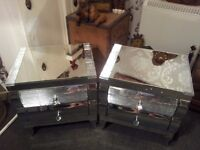 2 x beautifull mirrored/mosaic bedside 2 drawer cabinets/local delivery available