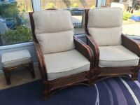 Wicker conservatory furniture 2 seater settee 2 chairs coffee table and 2 stools good condition