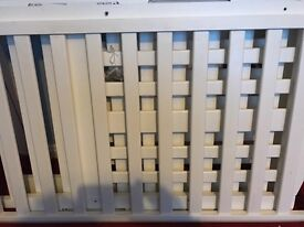 White wooden cot with all fixings good condition